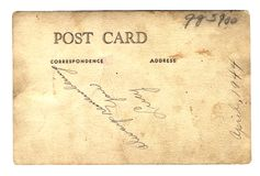 Post card from Lucy WWII. Path w/file - Back of a photo postcard probably taken in Hawaii 1944. Photo never mailed - hand delivered with message from Lucy royalty free stock image