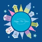 Post card for New Year. Home and night vector illustration