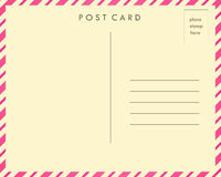 Post Card. Pink striped post card back stock illustration