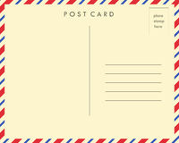 Post Card. Red and blue striped post card back royalty free illustration