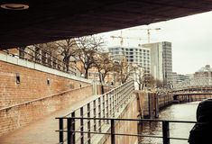 Post card view amber house in Germany Hamburg, european street, water under the bridge. Close up royalty free stock photos