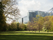 Post card view, modern buildings among green park, europe future concept Stock Photography