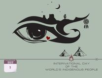 Post card Worlds Indigenous People. Calendar events of August - Congratulations forInternational Day of the Worlds Indigenous People Stock Photo
