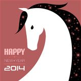Post card for 2014 year of the Horse. Vector illustration of horse. New year card Royalty Free Stock Photos