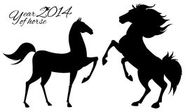 Post card for 2014 year of the Horse. Vector illustration of horse. New year card Stock Photography