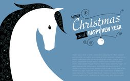 Post card for 2014 year of the Horse. Vector illustration of horse. New year card Royalty Free Stock Photography