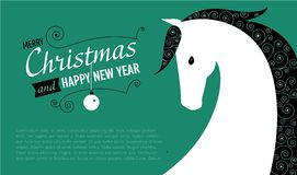 Post card for 2014 year of the Horse. Vector illustration of horse. New year card vector illustration