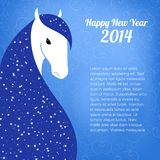 Post card for 2014 year of the Horse. Vector illustration of horse. New year card Royalty Free Stock Images