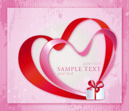 Post Cart with Double Hearts and Gift Royalty Free Stock Images