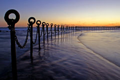 Post & Chains at Dusk Royalty Free Stock Photos