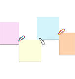 Post it and clip colors Stock Photos