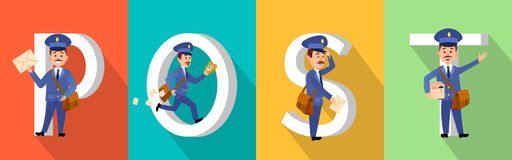 POST Colourful Poster with Big Letters and Mailman. POST colourful poster with big white letters and mailman character set. Postman with envelopes, parcel Royalty Free Stock Photo