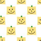Post-it com teste padrão sem emenda do ícone do sorriso Fotografia de Stock Royalty Free