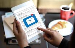 Post Communicatie Verbindingsbericht aan de post van contactentelefoon Royalty-vrije Stock Foto's