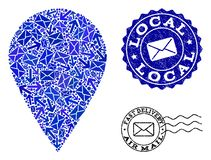 Post Communication Composition of Mosaic Local Place and Distress Stamps stock illustration