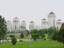 Post communism apartment buildings in Ashgabat. Post communism apartment buildings made predominantly of marble in Ashgabat, Turkmenistan Stock Photos