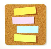 Post-it on cork board Stock Photo