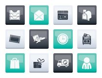 Post, correspondence and Office Icons over color background. Vector icon set vector illustration
