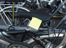 Post-it and cycle Stock Image