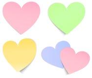 Post-it dado forma coração multicolour Fotografia de Stock Royalty Free