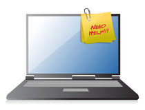 Post-it de la ayuda de la necesidad en un ordenador portátil Fotos de archivo libres de regalías