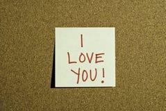 Post-it de la nota del amor Imágenes de archivo libres de regalías