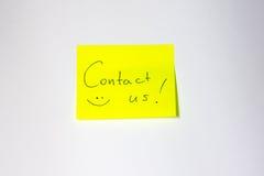 Post-it de motivation de contactez-nous Photo stock