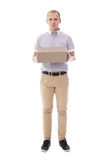 Post and delivery concept - full length portrait of young man wi Royalty Free Stock Photo