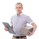 Post delivery service concept - man holding clipboard and cardbo Royalty Free Stock Photo