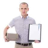Post delivery service concept - young man holding clipboard and Royalty Free Stock Photos
