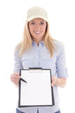 Post delivery service woman with blank clipboard isolated on whi Royalty Free Stock Photos