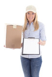 Post delivery service woman with box and blank clipboard isolate Royalty Free Stock Images