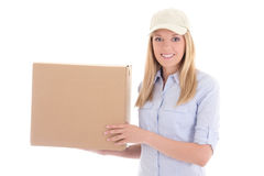 Post delivery service woman with box isolated on white Royalty Free Stock Photos