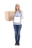 post delivery service woman with cardboard box and blank clipboard isolated on white stock photography