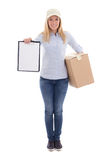 Post delivery service woman holding blank clipboard and cardboar Stock Photography