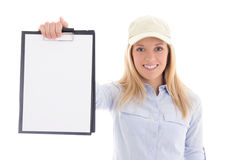 Post delivery service woman holding blank clipboard isolated on Stock Images