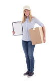 Post delivery service woman holding blank clipboard and parcel i Stock Photos