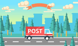 Post delivery vector truck. Delivery service van. Royalty Free Stock Photos