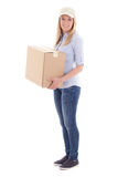 Post delivery woman holding carboard box isolated on white Royalty Free Stock Photo