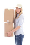 Post delivery woman holding carboard boxes isolated on white Stock Photo