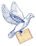 Post- duva med flygpostkuvertet stock illustrationer