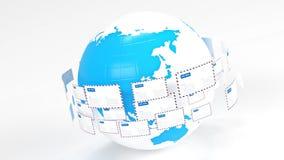 post Emails Ge uppkopplingsmöjlighet över hela världen posta leveransen stock video