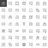Post en envelop geplaatste lijnpictogrammen stock illustratie