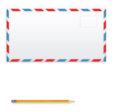 Post envelope and yellow pencil isolated on white background. 3D illustration Royalty Free Stock Image
