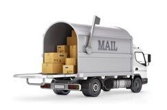 Post för leveranslastbil Fotografering för Bildbyråer
