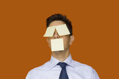 Post-it face. Businessman, he will never forget Stock Photo