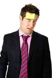 Post it on forehead Stock Images