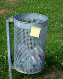 Post-it and garbage. On nature Stock Photo