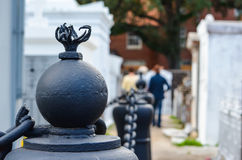 Post Head in Cemetery. Surrounding a crypt building Royalty Free Stock Photo