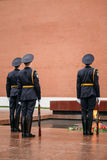 Post honor guard at the Eternal Flame in Moscow Royalty Free Stock Photo